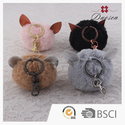 Fluffy Big Colorful Fox Fur Pompoms With Keychain For Bag Hang & Accessories & Car Keys