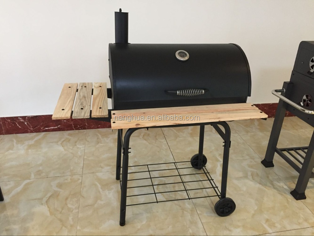 Outdoor and garden barbecue charcoal barrel grill with chiminea