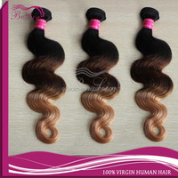 Factory price Top Quality Beauty Body Wavw Ombre 1B/#4/#27 three tone color hair weft