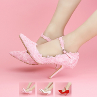 Pink Lace Wedding Shoes Pointed Toes Spring Bridal Shoes Ankle Strap Formal Dress Shoes