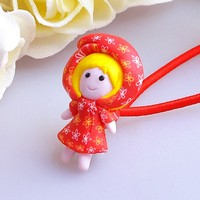 Red doll charm elastic hairband hair accessories for kids hair rubber band