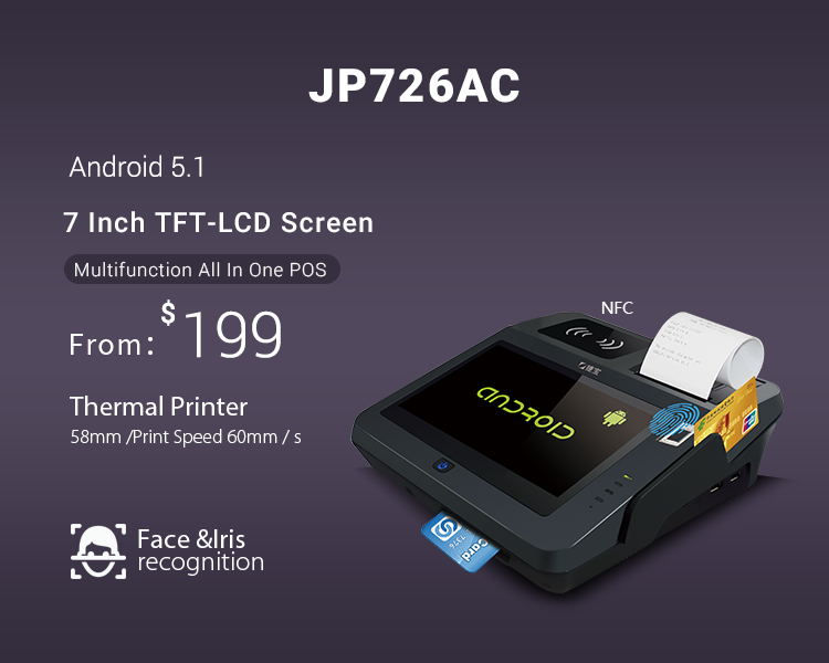 3G Wifi Bluetooth Touch Screen All In One Android Pos Terminal With Thermal Printer