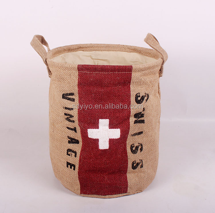 National flag jute vintage storage bins