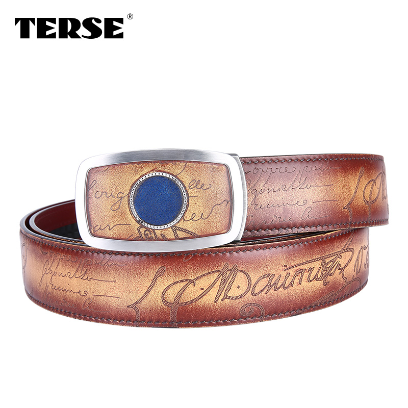 TERSE luxury leather Automatic buckle <strong>belts</strong> for men handcrafted <strong>belts</strong> drop shipping service <strong>belts</strong> in stock