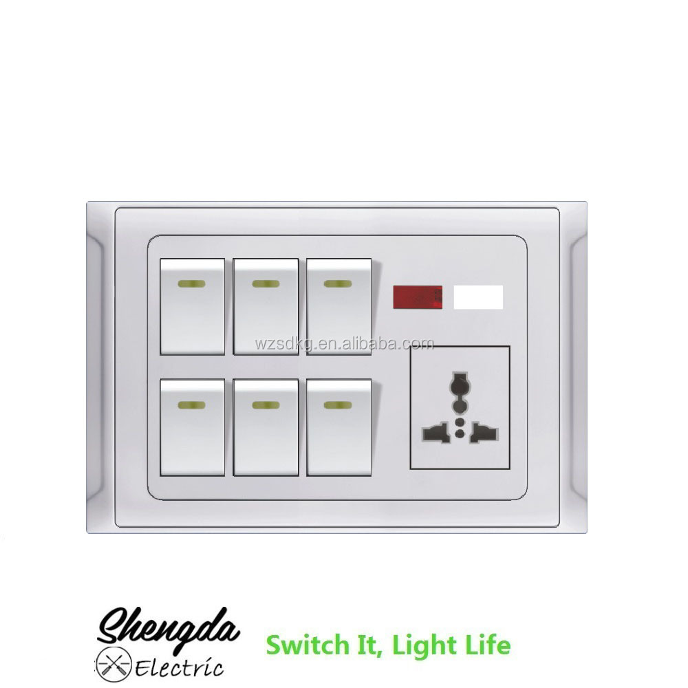 neon wall switch with led indicator light and MF socket