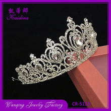 Newest selling good quality half round silver band wedding tiara crown accessories