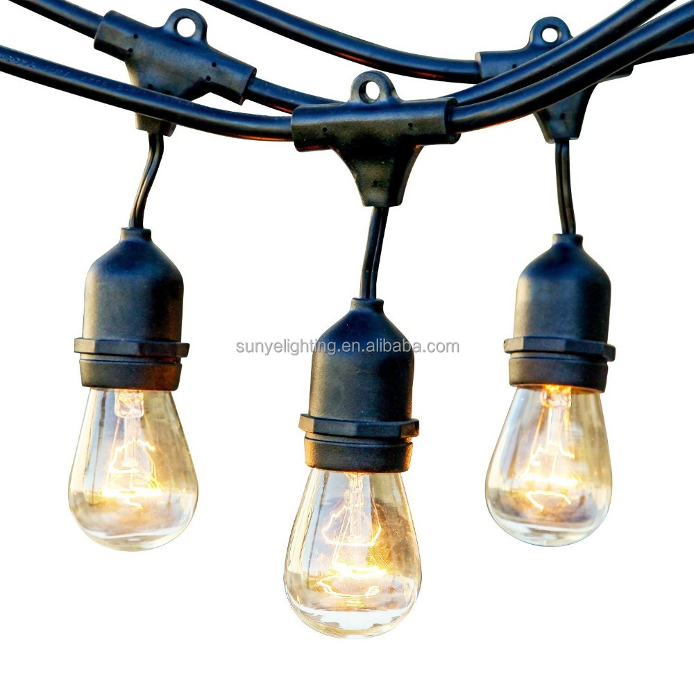 48ft SJTW 14AWG/2C Commerial S14 Outdoor Edison bulb Globe party String Lights - Set of 21 Clear S14 Edison Bulbs