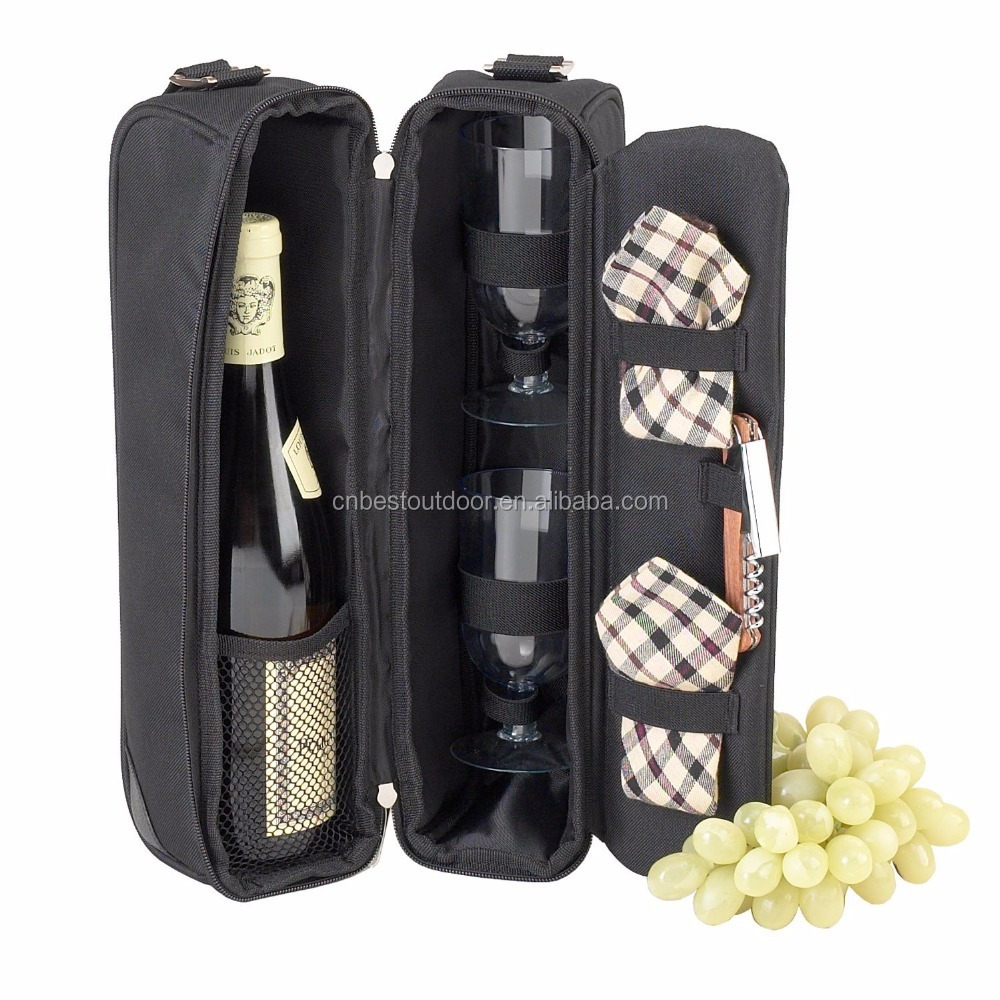 Wine Bag Tote Carrier Bottle Gift Insulated Picnic Travel Holderwine cooler bag with Glasses