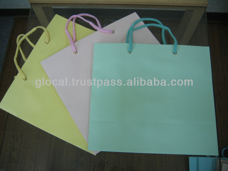 Pastel Color Shopping Paper Bag Small Size STOCKLOT LOW PRICE --- Pink, Yellow, and Green --- Wholesale
