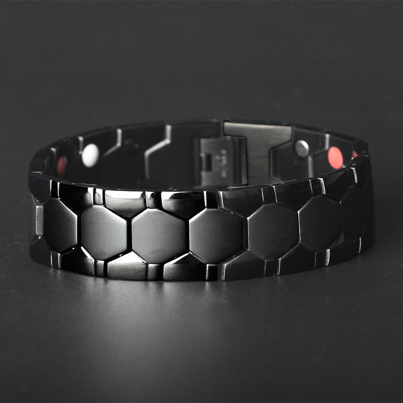 Luxury Gold Plated High Polished 18mm Wide Hematite Health Magnet Energy Ball Shaped 316L Stainless Steel Bracelet For Men