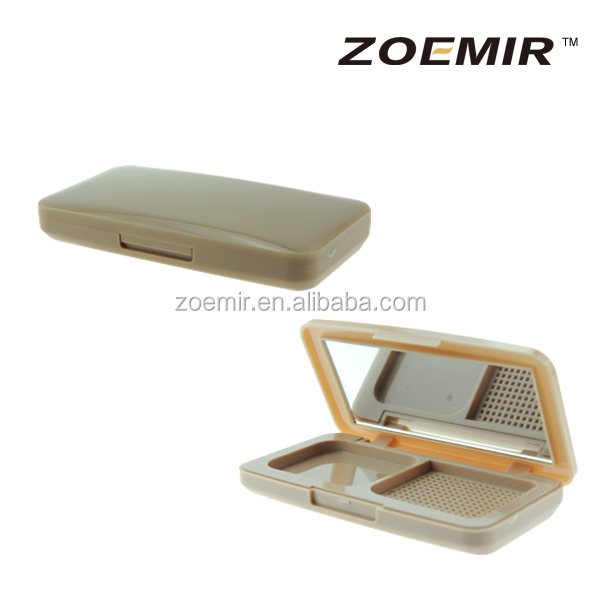 2 colors injection plastic square eyeshadow case with cosmetic mirror