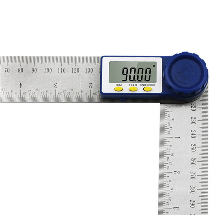 0-360 Degree 2in 1 stainless steel digital display angle protractor woodworking tool angle measuring instrument.