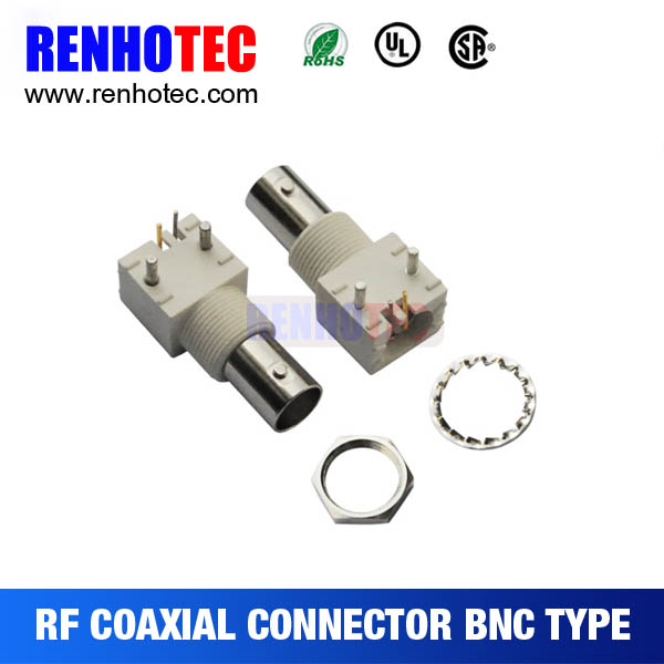 Right Angle white plastic bnc jack connector for pcb mount