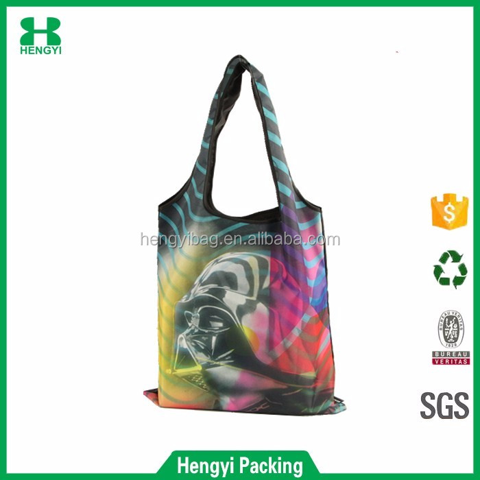 Wenzhou wholesale eco friendly and reusable full color print 210D polyester shopping tote bag