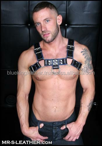 New Cowhide Napa Leather Men's HARNESS Colorful Edges GAY FETISH