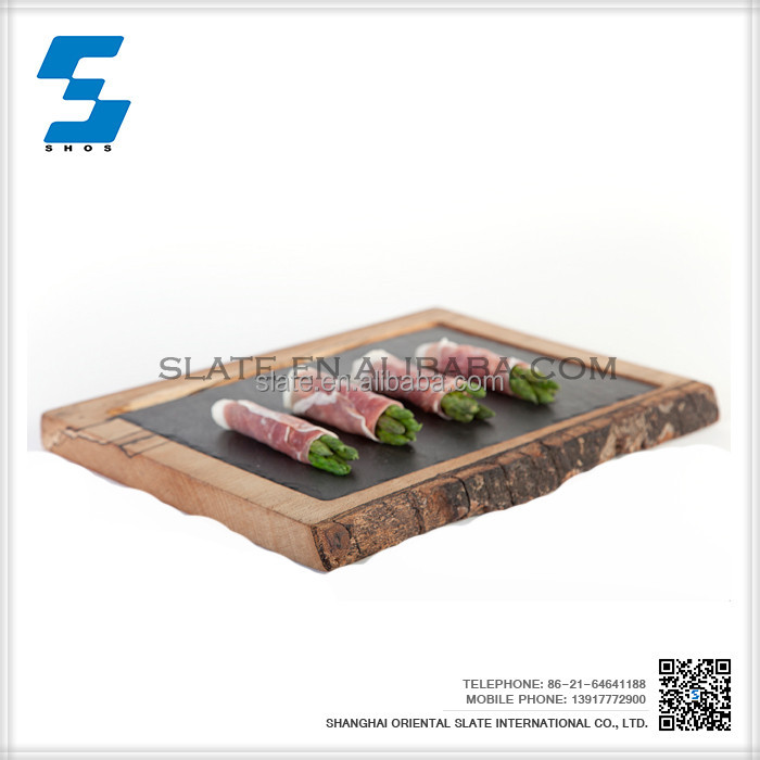 2017 black slate stone food custom printed serving tray,Food Serving Trays
