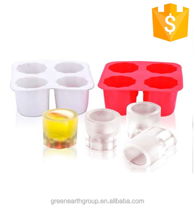 BPA Free Ice Cream Tools 4 cups colorful round ice shot glass silicone ice cup mold