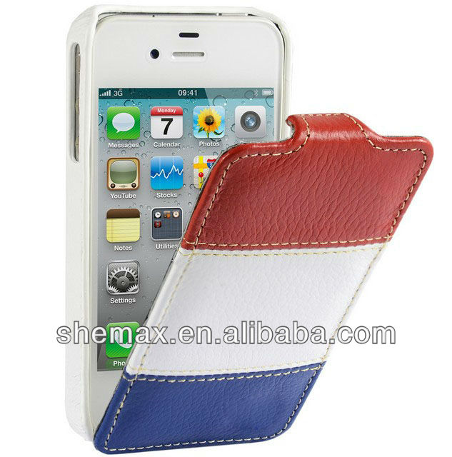 Luxe France Flag Leather Slimline Jacka type Case for iPhone 4