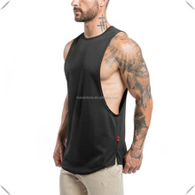 black plain 100% polyester dry fit longline tank top with scoop bottom lifestyle cut off shirt deep cut gym tank top