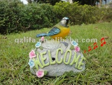 New style sensor sing bird with welcome stone craft