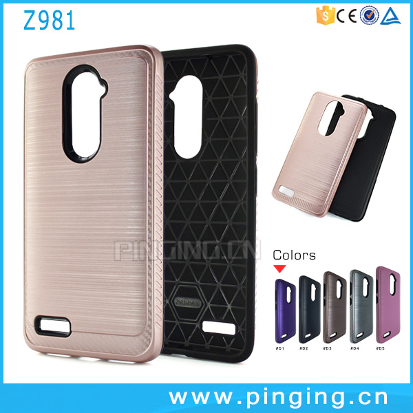 Mobile phone accessories factory in china soft rubber hard hair line pc dual layer back cover for zte zmax pro z981