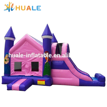 Inflatable Bouncer Castle, Princess Pink Inflatable Bouncer with Slide for Outdoor Party