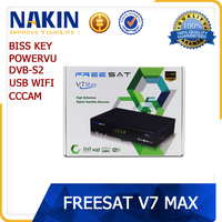Freesat V7 Max full hd 1080p dvb s2 digital satellite receiver with Powervu Biss key Cccam Usb Wifi