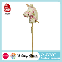 Wooden stick horse toy plush animal horse for kids factory