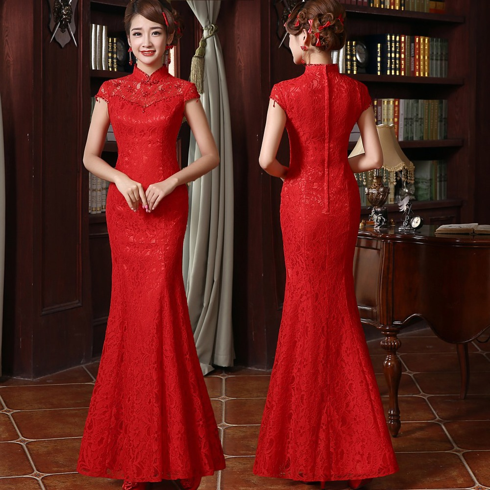 Traditional Chinese Red Bridal Lace Cheongsam Wedding