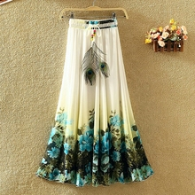 Walson Summer latest fashion bohemian ladies chiffon long skirt(M10242A)