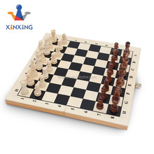 wooden folding chess board game chess set with wooden chess pieces
