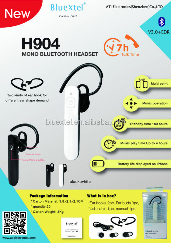 Noise canceling bluetooth earpiece mini earphone&High quality Colorful In-ear earphone for MI Phone with Mic H904