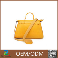 Spring best selling bag PU leather handbag yellow fashion tote bag