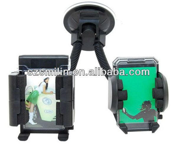 Flexible Suction Cup Mount for Smartphone/PDA/GPS/MP4 with double clamp