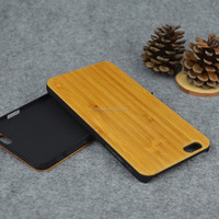 Alibaba express solid real bamboo material wood phone cases with PC back cover for iphone 6 plus /6s plus
