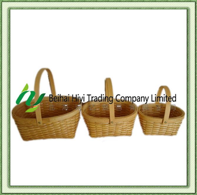 Guangxi Oval Handmade Wood Chip Picnic Basket with Handle