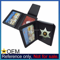 Wholesale Custom Metal Badge Mens Pure Genuine Leather Wallet