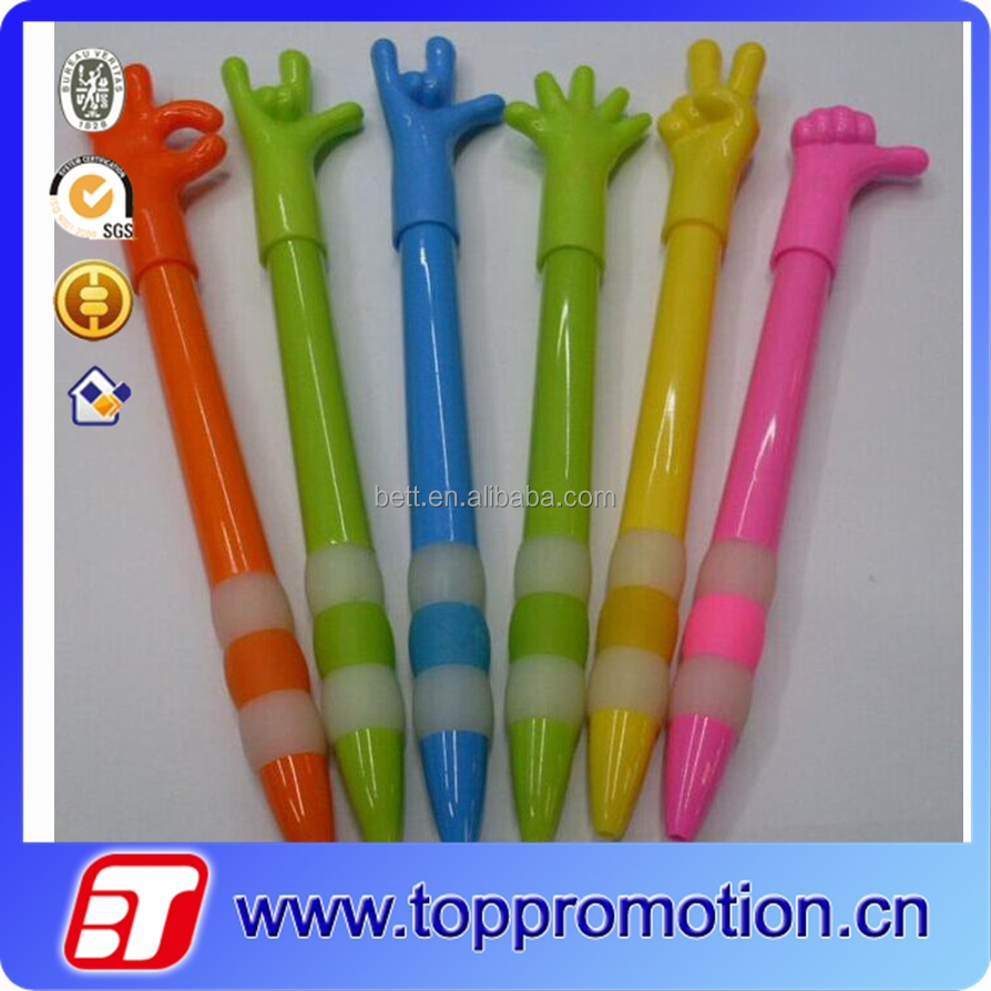 Best selling rubber material hand shaped promotion ball pen