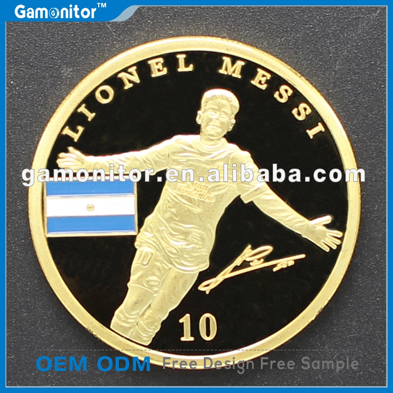 Barcelona Football World Cup Super Stars Footballer Lionel Messi Coin 24K Gold Plated Souvenir Coin Soccer Star Collection