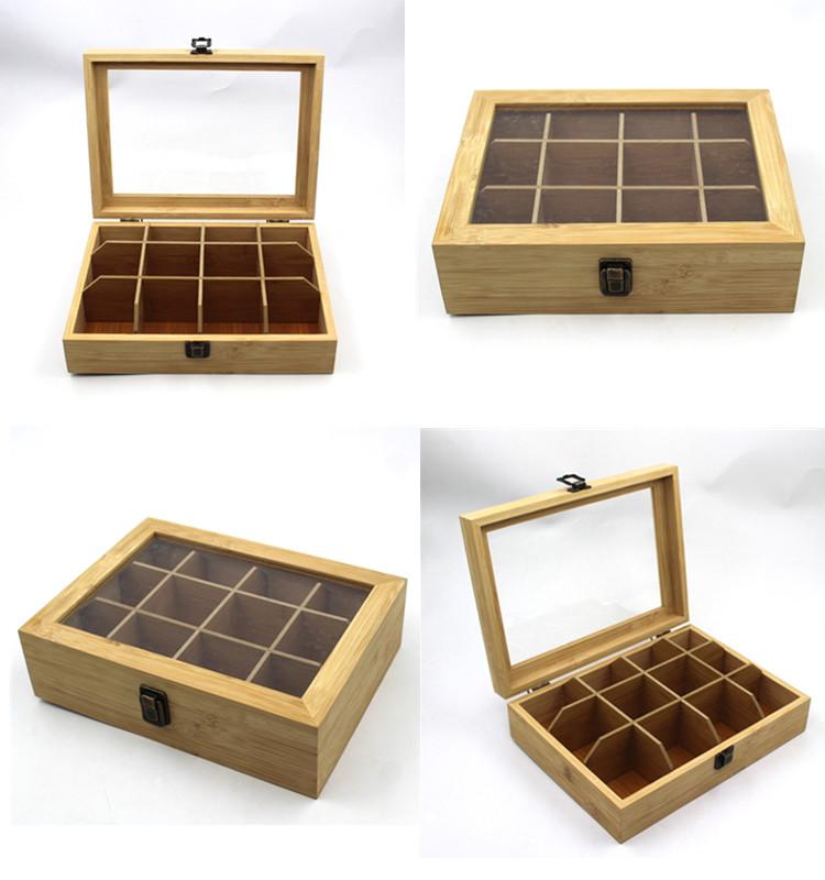 Hot selling natural bamboo wood tea bag box