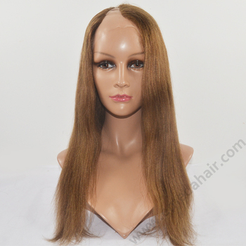 New fashion 2014 beauty u-part wigs straight middle parting 100% human hair u part full lace wig
