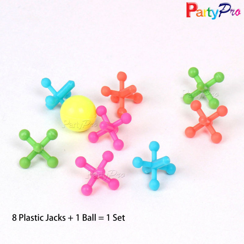 Playing Game 8 Jacks & Ball Set Plastic Jacks and Colored High Bouncing Ball