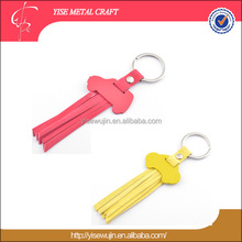 Ladies' accessories custom fashion keychain car shaped red leather key tag ring with tassel