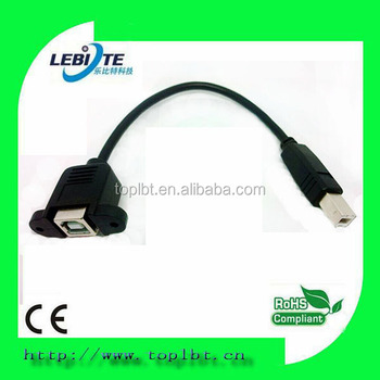 Pannel mount Black 20cm Extension USB 2.0 printer cable
