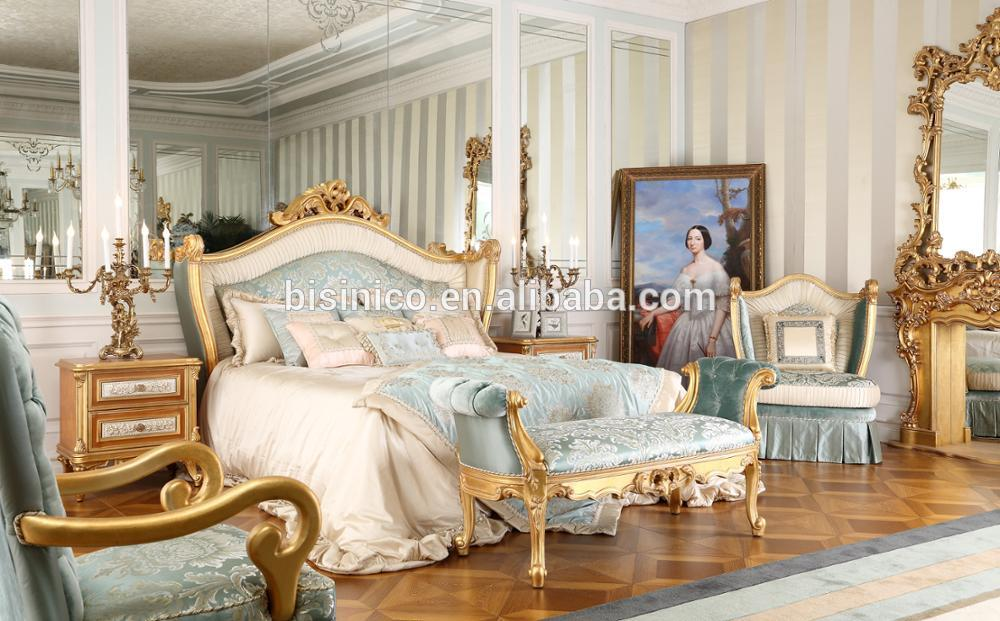 Classic King Size Bedroom Set, European Style Hot Sale Royal Luxury Bedroom Furniture