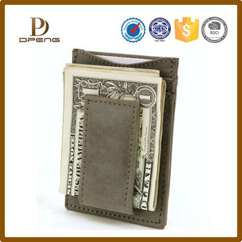 card slots holder pu leather money clip