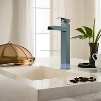 Bathroom basin faucet brass waterfall hot cold water tap with chrome finish