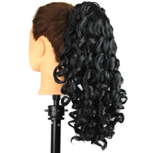 Women's ponytail hair extension black color curly wave claw clip ponytail hairpieces