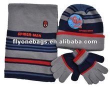 Spiderman knit cap & glove&scarf set,boys winter hats scarfs and gloves 3 pcs set
