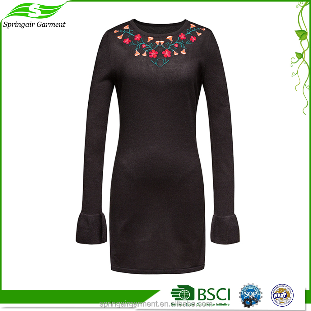 New Style Hot Sale black one-piece winter woman dress
